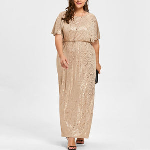 Plus-size Sexy Printed Round Neck Bat Sleeve Evening Dress