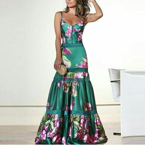 Fashion Sexy Floral Plunge Ruffles Layered Hem Maxi Dress Evening Dress