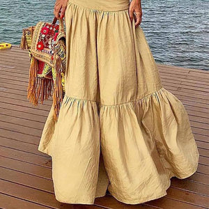 Casual Pleated Splicing  High-Waist Skirt