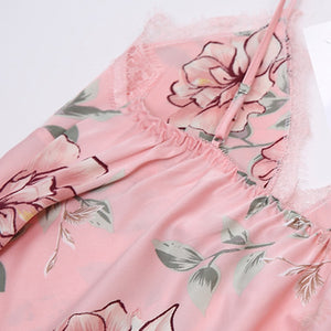 Sexy Suspender Bud Ribbon Chest Pad Simulation Silk Print Pajamas