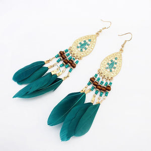 Fashion  Fringed Feather Earrings Long Accessories Handmade Earrings