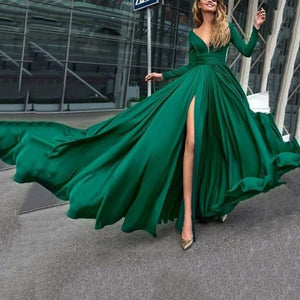 V-Neck Long Sleevethe Sides Split Maxi Evening Dress