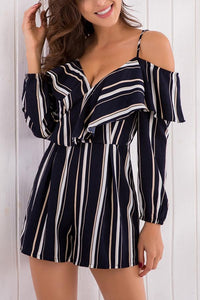 Calladream Women V-Neck Stripe Sexy Chiffon Rompers