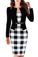 Elegant Plaid Assorted Color Square Neck Fake Two-Piece Bodycon Dress