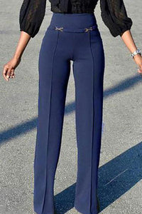 Simple And Versatile High Waist Straight Pants