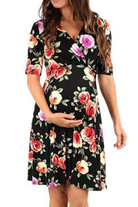 Maternity Floral Print V-Neck Skater Dress