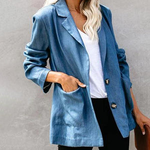 Casual Flip Collar Long Sleeve Denim Blue Suit Jacket