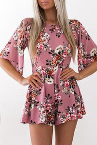 Cute Floral Printed Casual Short Jumpsuit Rompers
