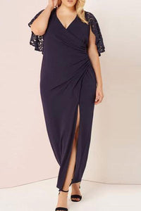 Plus-Size Pure Color V-Neck Splicing Lace Evening Dress