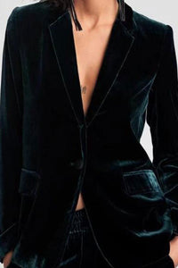 Chic Solid Velvet Jacket Blazer Suit
