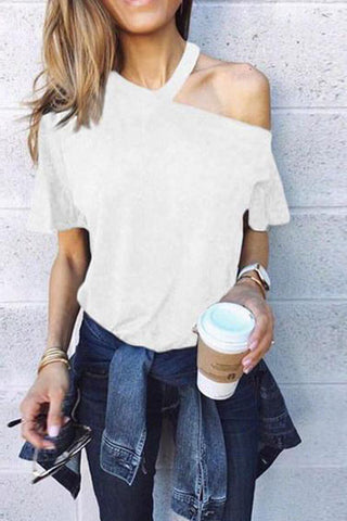 Sexy One Shoulder Plain Loose Short Sleeve T-Shirt
