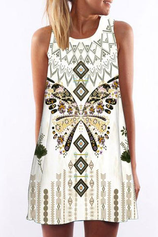 Round Neck  Printed Casual Dress
