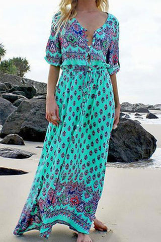 Casual Sexy Deep V   Neck Bohemian Style Printing Maxi Dress