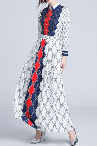Fashion Elegant Stand Collar Long Sleeves Floral Printed Maxi Dress