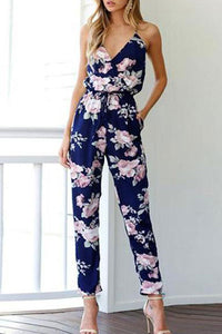 Cross Sling Halter Printed Floral Jumpsuit Rompers