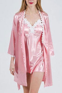 Home Service Sexy Nightdress Long-Sleeved Robe Simulation Silk Suit Pajamas