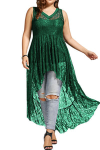 Plus-Size See-Through Lace Sleeveless V-Neck Maxi Dress