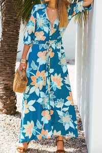 2019 Spring V Collar Bohemian Floral Printed Long Vacation Dress