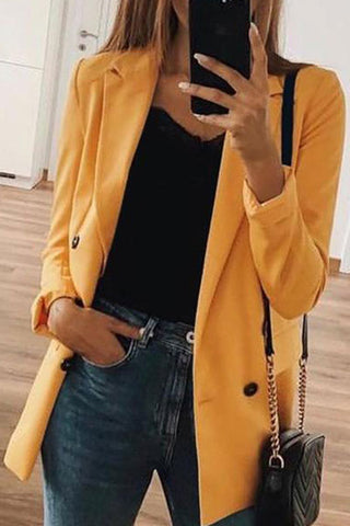 Fashion Solid Color Long Sleeve Blazers Jacket