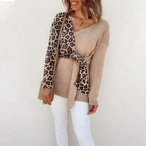Women's Modern V-Neck Brown Splicing Leopard Print Sweater
