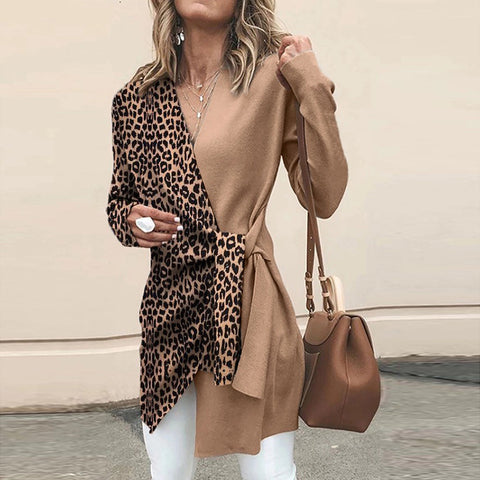 Women's Vintage V-Neck Leopard Print Belted Long Sleeve Sweater