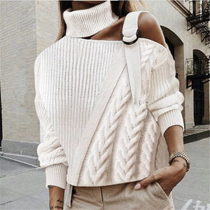 Fashion Pile Collar Off-the-shoulder Solid Color Twist Knit Sweater