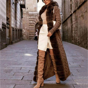 Women's fashion woven stitching plush coat