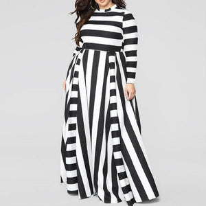 Plus-size Loose Long Sleeve Round Collar Stripe Maxi Dress