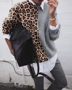 Fashion Leopard grain patchwork knit top Sweater