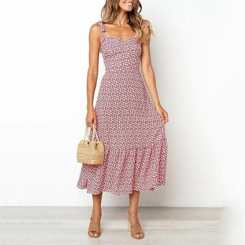 Printed Lace-Up Sleeveless Vacation  Dress