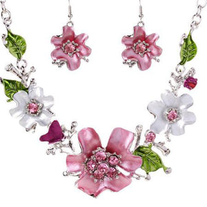 Sweet Flower With Rhinestone Necklace And Earrings