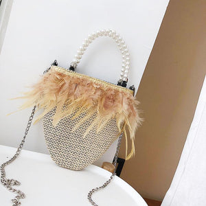 Fashion Plain Knitting Feather Side Chain One Shoulder Hand Bag
