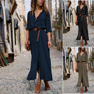 Flash Sale Fashionable Loose Long Sleeved Maxi Casual Dress