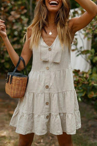 Casual Button Linen Stitching Mini Dress