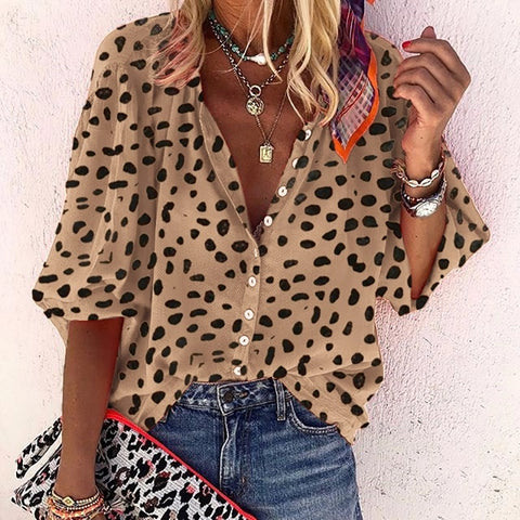 Women Fashion Leopard Casual Long Sleeve Blouse