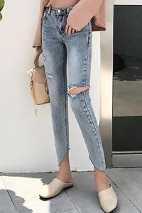 Fashion Slim Show Thin Elastic Ripped Skinny Jeans Tight Pencil Pants