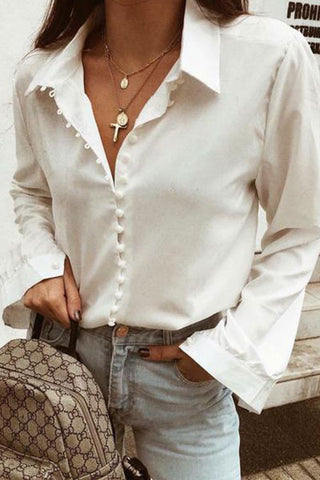 Plain Casual Button Long Sleeve Shirt