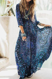 Bohemian V Collar Printing Chiffon Beach Vacation Dress