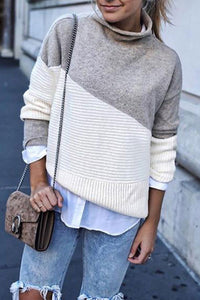 High Neck  Cutout Patchwork  Color Block Sweaters