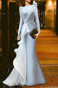 Solid Color Gauze Stitching Evening Dress
