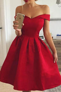 Off-The-Shoulder Sexy Red Skater Dress