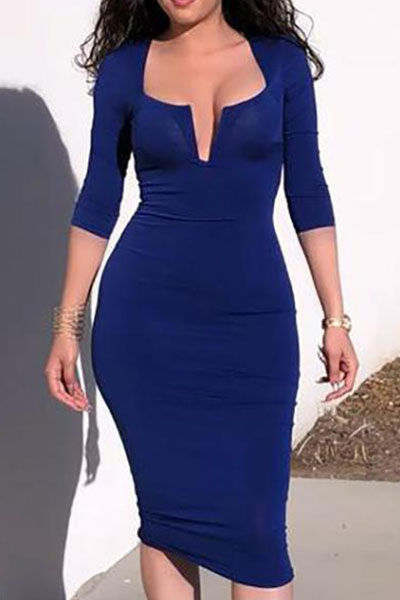 Solid color V-neck Bodycon Dress