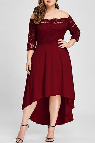 Plus Size Sexy Pure Color Lace Skater Dress