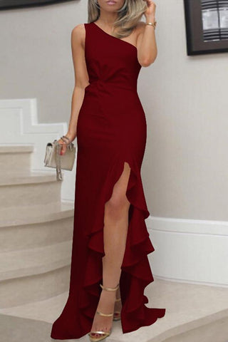 One Shoulder Plain Evening Dress