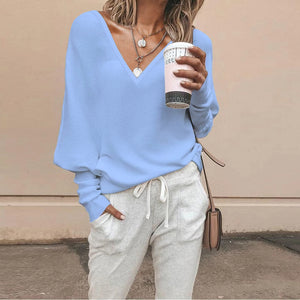 Women's casual solid color V-neck long sleeve sweater