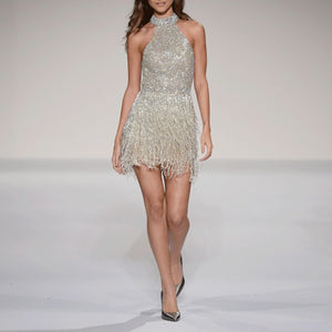 Fashion Halter Sequin Mini Evening Dress