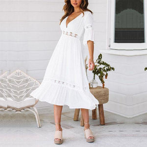 V-Neck Lace Trumpet Sleeve Vacation  Dress