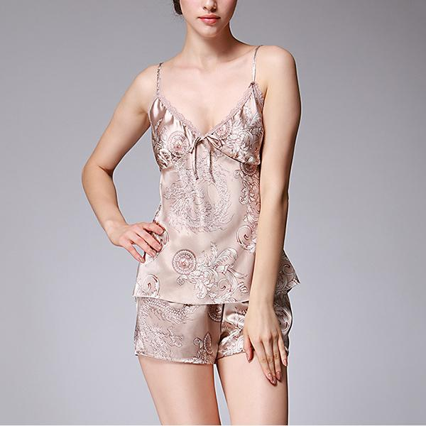 Sexy Pajamas Silk Straps Nightdress Shorts Suit Home Service