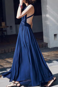 Bohemian V Neck Chiffon High-Waist Pleated Pure Colour Off-Shoulder Maxi Dress