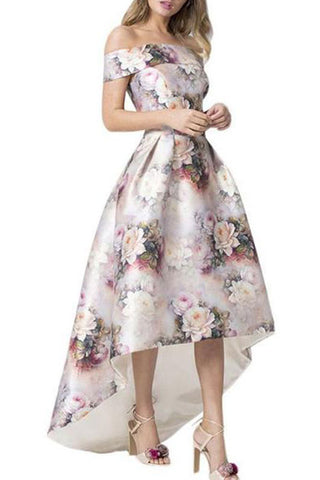 Off Shoulder Floral Printed Sexy Evening Dress